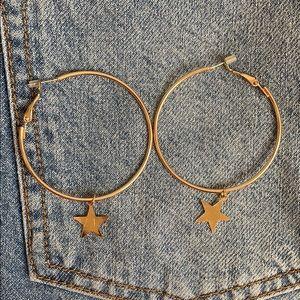Star Gold Hoops Medium Size💫